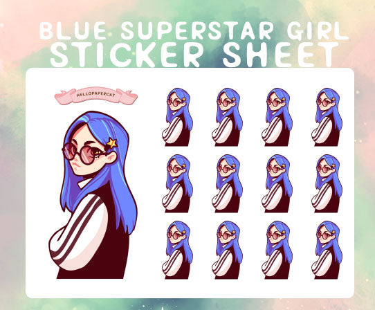 Blue Superstar girl sticker sheet