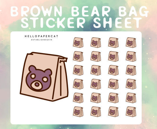 Brown Bear Bag sticker sheet