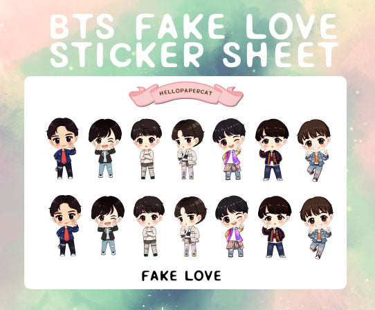 BTS FAKE LOVE sticker sheet