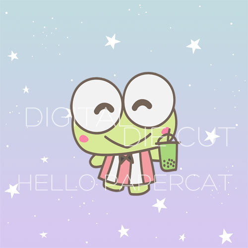 Bubble Tea Froggy die cut