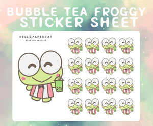 Bubble Tea Froggy sticker sheet