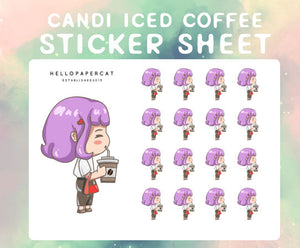 Candi Iced Coffee sticker sheet