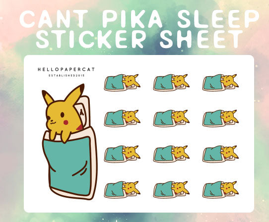 Can't pika Sleep sticker sheet