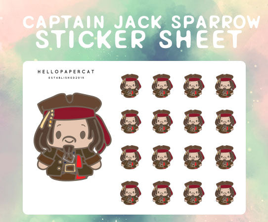Captain Jack Sparrow sticker sheet