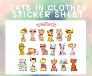 Cats in Clothes sticker sheet