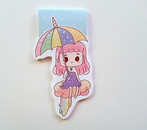 Magical unicorn girl magnetic bookmark