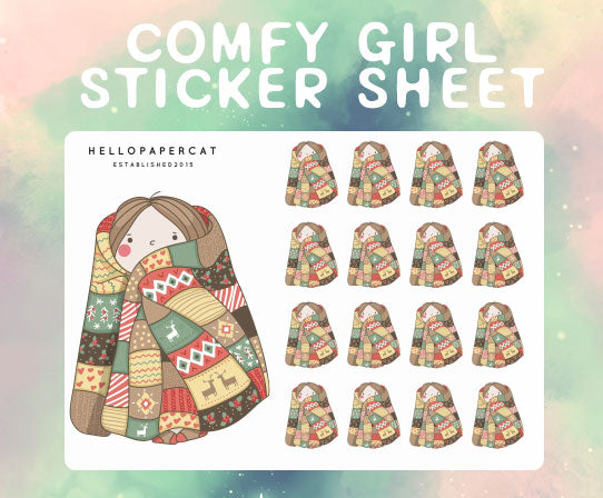 Comfy Girl sticker sheet