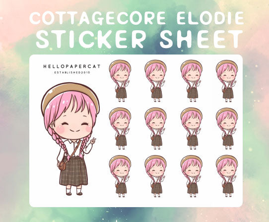 Cottagecore Elodie sticker sheet