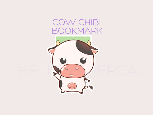 Cow Chibi magnetic bookmark