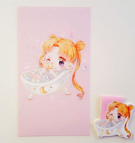 Bubblebath Usagi dashboard or magnetic bookmark