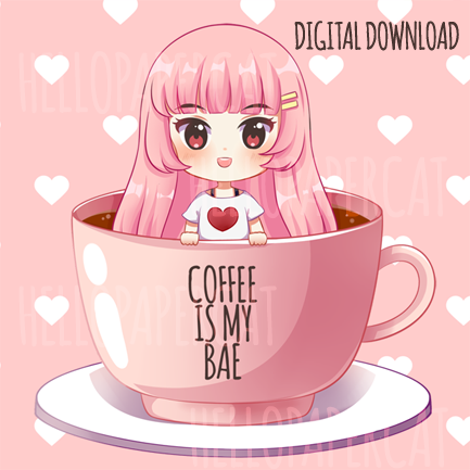 Elodie Coffee is my Bae digital diecut