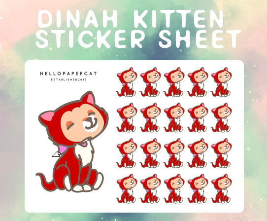 Dinah Kitten sticker sheet
