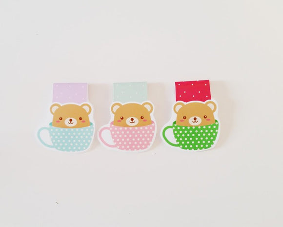 Bear in a mug magnetic bookmark
