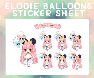 Elodie balloons sticker sheet
