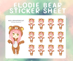 Elodie Bear (Comfy art style) sticker sheet