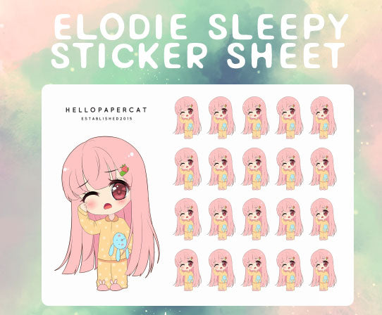 Sleepy Elodie sticker sheet