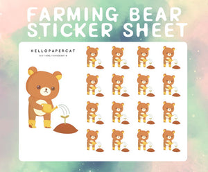 Farming Bear sticker sheet