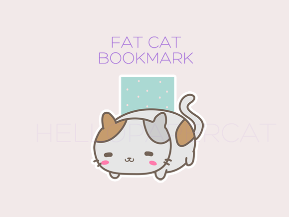 Fat Cat magnetic bookmark