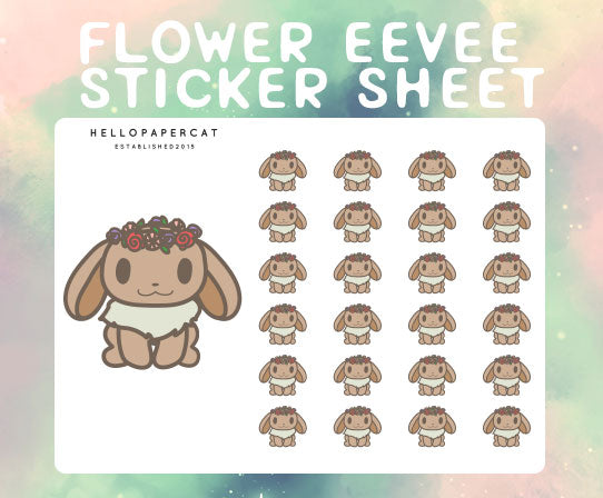 Flower crown Eevee sticker sheet