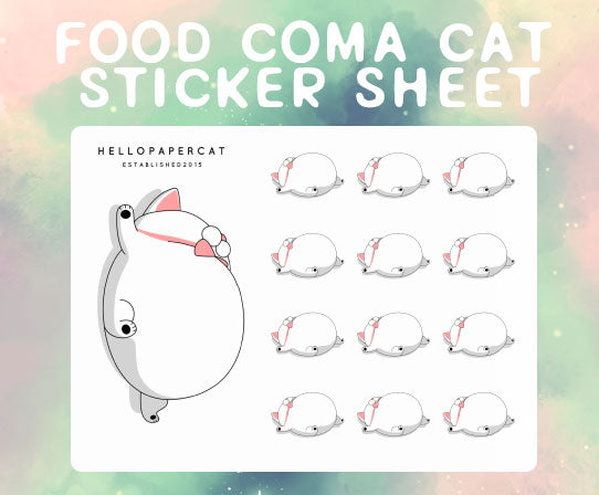 Food Coma sticker sheet