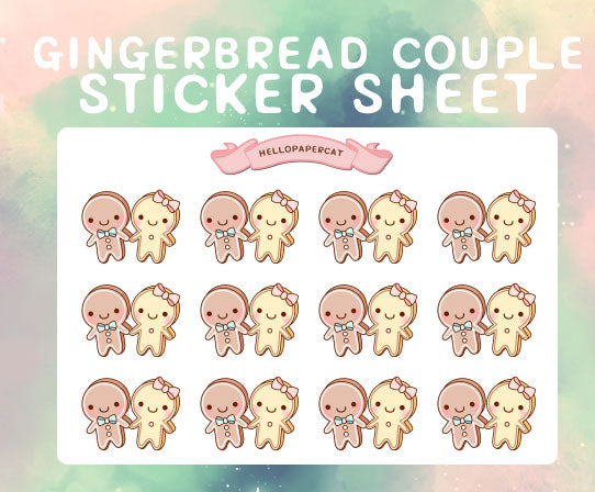 Gingerbread couple sticker sheet