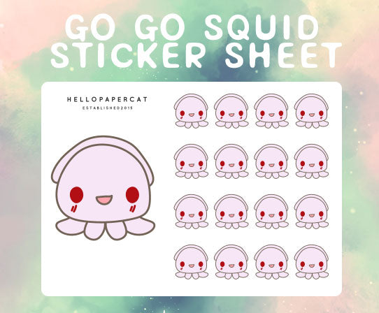 Go Go Squid sticker sheet