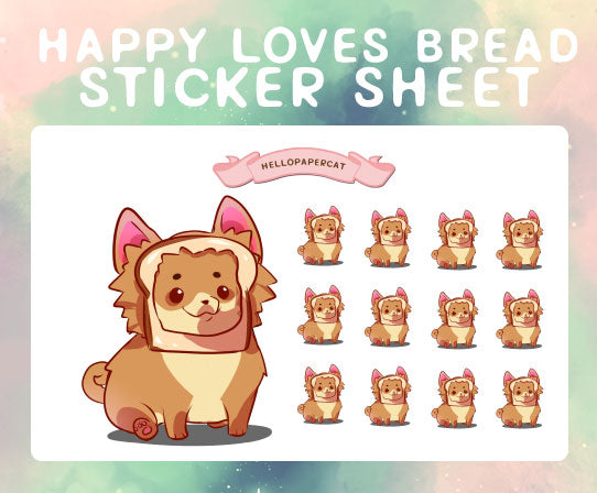 Happy loves bread sticker sheet