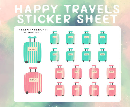 Happy Travels sticker sheet