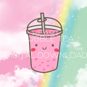Heart Bubble Tea DIGITAL diecut download
