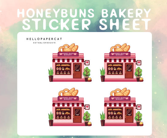 Honey Buns Bakery sticker sheet