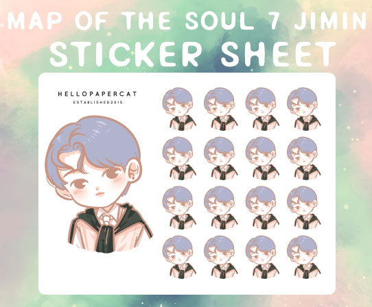 BTS map of the soul 7 Jimin sticker sheet
