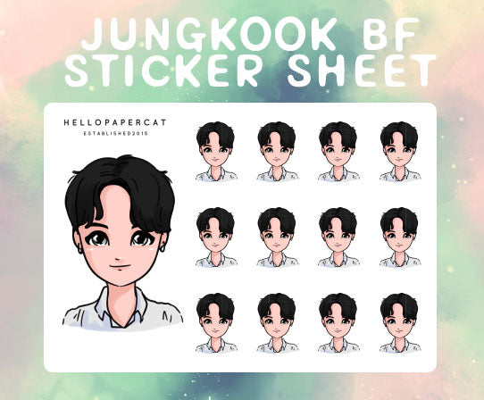 Boyfriend style BTS JUNGKOOK sticker sheet