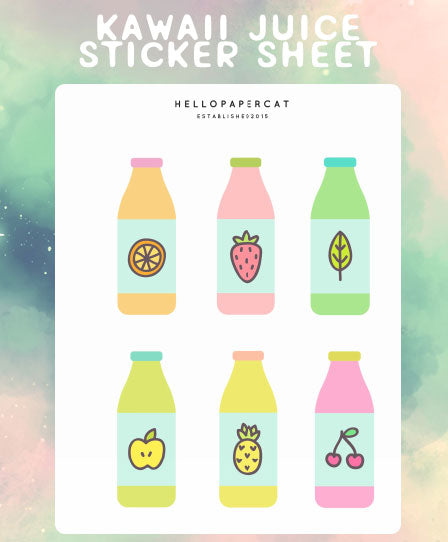 Kawaii Juice sticker sheet