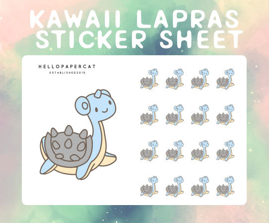 Kawaii Lapras sticker sheet
