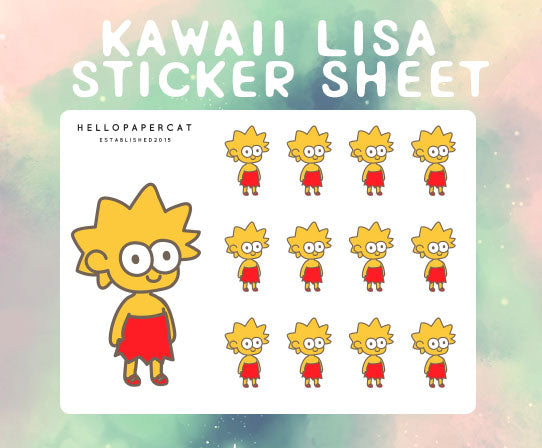 kawaii lisa sticker sheet