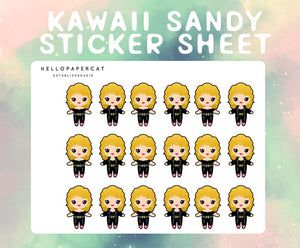Kawaii Sandy from Grease sticker sheet