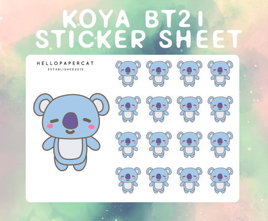 Koya BT21 sticker sheet