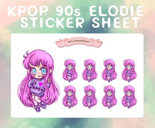 90s Kpop Elodie sticker sheet
