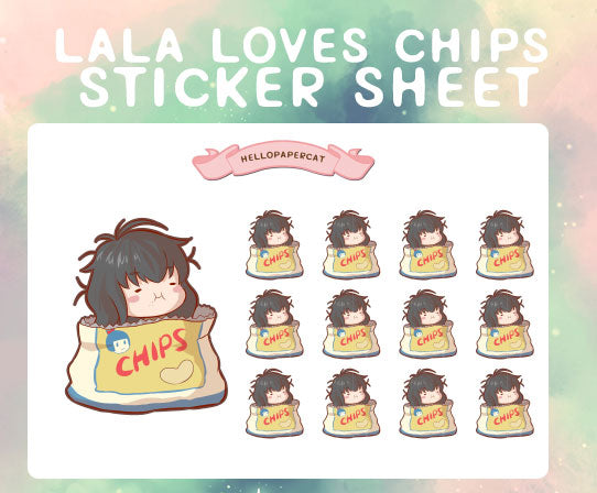 lala loves chips sticker sheet