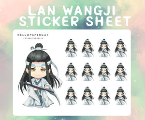 Lan Wangji sticker sheet
