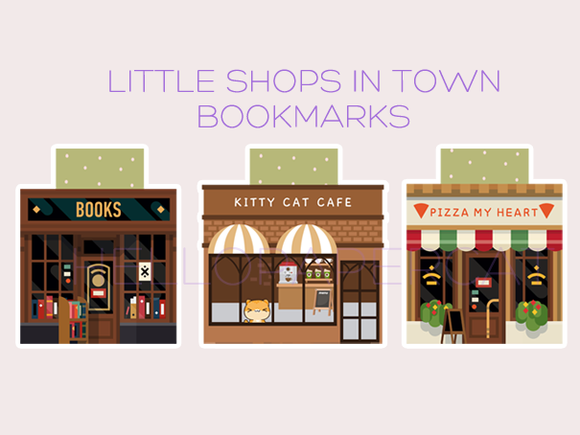 Little shops in town magnetic bookmarks