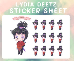 Lydia D red outfit sticker sheet