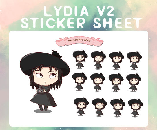 Lydia D black outfit sticker sheet