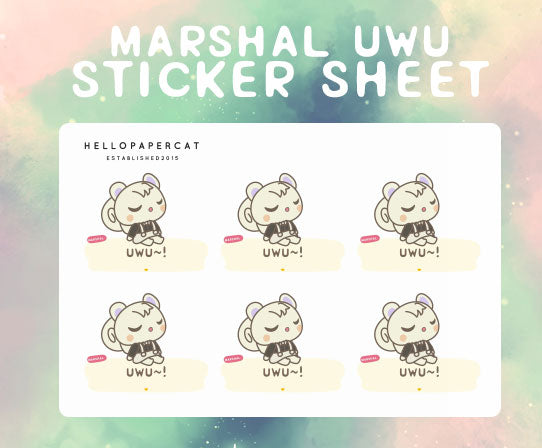 Marshal uwu sticker sheet