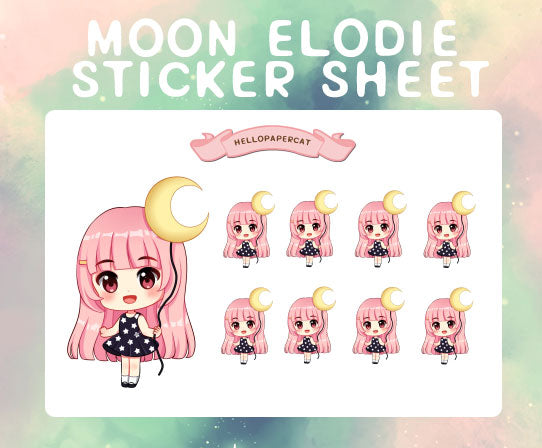 Moon and Stars Elodie sticker sheet