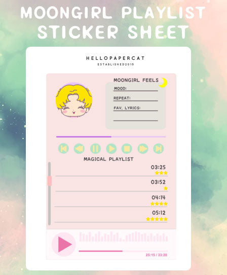 Moongirl Playlist sticker sheet