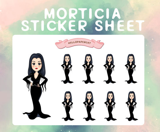 Morticia sticker sheet