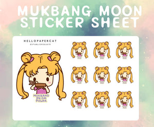 Mukbang Moon sticker sheet