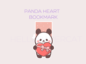 Panda Heart magnetic bookmark