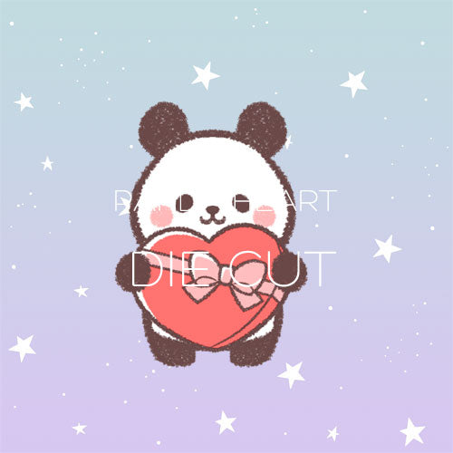 Panda Heart die cut